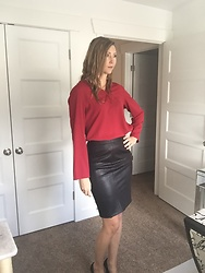Cindy Batchelor - Vanberfia Red Blouse, Toms Ware Black Faux Leather Pencil Skirt - Black Faux Leather Pencil Skirt and Red Chiffon Blouse