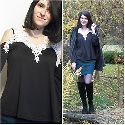 Madziastylee - Black And White Blouse - Cold Shoulder Lace Gamiss