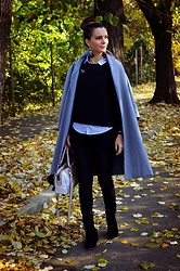 Butterfly Petty - Guess Bag, Zara Jeans, Zara Shirt, Wholesalebuying Coat, Stradivarius Blouse, H&M Earrings - Autumn leaves