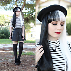 Federica D - Romwe Striped High Neck Top, Uniqso Cross Tights, Sammydress Black And White Wig, Bornprettystore Silver Rings - Black and white
