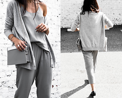 Kristina - Grana Grey Silk Cami, Grana Cashmere Cardigan, Aurum Silver Feather Ring, Squaregal Criss Cross Diamond Ring, Cafune Marble Crossbody, Naked Feet Loafers - Weekend style - silk and cashmere