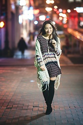 Kimberly Kong - Amiclubwear Printed Tunic, Viva La Jewels Crochet Cardigan, Stuart Weitzman Over The Knee Boots - Early Morning Feels