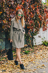 Julie P - Vipme Trench Coat - Military Green Trench Coat