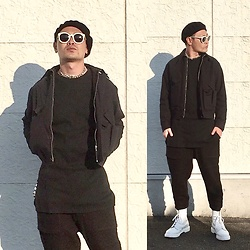 ★masaki★ - Newyork Hat Beret, Raf Simons Militaly Style Jacket, Ch. Thermal Longfit Tee, Ch. Cropped Pants, Dr. Martens Allwhite 8eyes - Japanese trash style 43