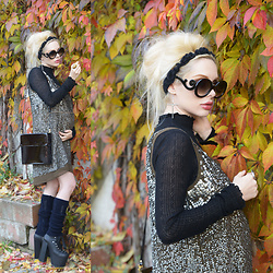 Meda Motisan - Zara Dress, Zara Shirt, Unif Boots, H&M Ring, Zerouv Sunglasses - Sequins and leaves