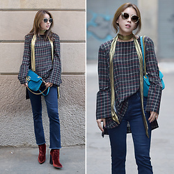 Rekay Style - Chloe Cat Eye Sunglass, Zara Gold Skinny Scarf, Zara Check Blouse, Gucci Marmont Velvet Bag, Mother Bootcut Jeans, Zara Velvet Ankle Boots - Check & Denim Jeans