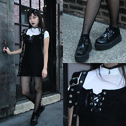 K I T T Y - Lip Service Black Overall Dress, T.U.K. Footwear Creepers, Thrifted Black Pleather Purse, Unif Plex Top - Silver & Leather