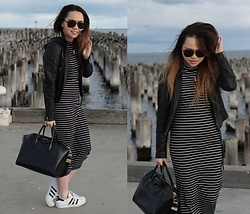 Eliza Tanudjaja - The Editor's Market Striped Dress, Adidas Superstar Sneakers, Givenchy Antigona - Striped