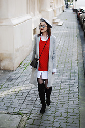Andreea Birsan - Grey Beret, Red Sweater, Mini Denim Skirt, White Button Down Shirt, Grey Coat, Leather Crossbody Bag, Over The Knee Boots, Mirrored Sunglasses - How to master the Parisian chic look II