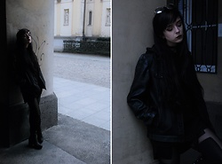 Alice A. - Zara Leather Jacket, Necessary Evil Gothic Hades Cross Leggings - Hades, my dear