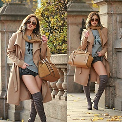 Louise Xin - Calvin Klein Sweater, Gucci Sunglasses, Only Camel Coat, River Island Tote Bag, Nelly Grey Over The Knee Boots - Autumn colors