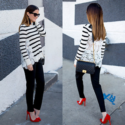 Jenn Lake - Chelsea28 Black White Striped Lace Back Sweater, Vince Camuto Black Slim Ankle Pant, Christabelle Black Tassel Earrings, Chanel Black Caviar Medium Boy Bag, Lauren Marinis Red Suede Pumps, Kate Spade Sharlots Cateye Sunglasses - Striped Lace Back Sweater