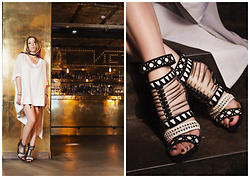 Simona Preda - White Dress, Schutz Sexy Shoes, Murmur Black Leggings - Sexy look and gladiator sandals