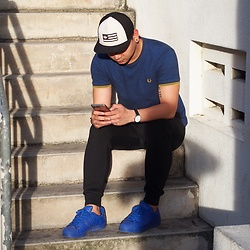 DADA FAB - Adidas Cap, Fred Perry Blue Shirt, Zalora Jogger Pants, Adidas Blue Sneakers - Time for style refresh