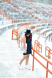 Katrina Enrera - Cotton On Fedora Hat, Penshoppe Grid Dress, Converse Chuck Taylors - Stadium
