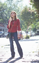 Deborah Ferrero - Bell Sleeves Red Top, Green Satchel, Flare Jeans - RING THE BELL