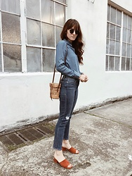 Tonya S. - The Blue Shirt Shop Chambray Button Up, Frame Le Straight Denim, Jeffrey Campbell Suede Mules, Vintage Straw Bag - Denim on Denim Today