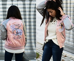 Konstantina Antoniadou - Zaful Bomber Jacket, Mango Bomber Jacket 2nd Choice - THE EMBROIDERED BOMBER JACKET