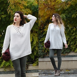 Melislicious Blog - Zaful Sweater, Mango Bag - Lace up Sweater