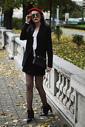 Andreea Birsan - Red Beret, Lace Up Pointed Toe Ankle Boots, Piper S Crossbody Bag, Black Blazer, Tie Neck Blouse, Mirrored Sunglasses, Denim Button Front Mini Skirt - The ultimate guide to wearing ankle boots II