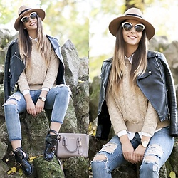 Manuella Lupascu - Choies Hat, Choies Cut Out Boots, Dsquared Sunglasses, Michael Kors Bag, Tommy Hilfiger Watch - My type of Casual Outfit for Fall