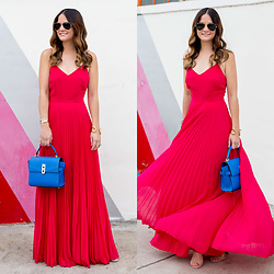 Jenn Lake - Asos Pink Pleated Maxi Dress, Henri Bendel Mini Uptown Satchel, Steve Madden Carrson Sandals, Giles And Brother Cortina Cuff, Ray Ban Aviator Sunglasses - Pink Pleated Maxi Dress
