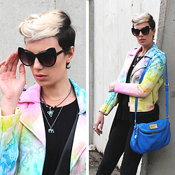 ♡Nelly Kitty♡ - H&M Cateye Sunglasses, H&M Boho Necklaces, Unif I Dye Moto Jacket, Marc By Jacobs Blue Leather Bag - I Dye Moto