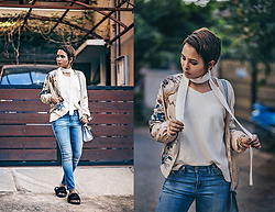 Nilu Yuleena Thapa - Puma Fentyxpuma Fur Sliders, Chic Wish Bell Sleeves V Neck Sweater, Diesel Customised Denims - Bare Necessity