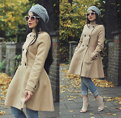 Clara Campelo - Coat, Public Desire Ankle Boots - Burning leaves