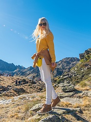 Tijana J.D - Dolce & Gabbana Black Cat Eye Sunglasses, H&M Yellow Sweater, N&S Braon Faux Leather Jacket, Primark Small Yellow Bag, H&M White Skinny Jeans, Primark Brown Sneakers - Andorra