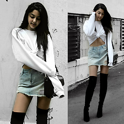 Florencia R - Hanes Knotted Sweatshirt, Asos Denim Skirt, Public Desire Over The Knee Boots - Knotted Up