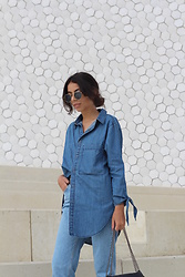 NA-KD - Na Kd Oversized Denim Knot Detail Shirt, Cheap Monday Donna Promise, Na Kd Basic Round Sunglasses - Denims are forever!