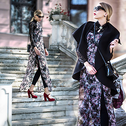 Dora D. - Zero Uv Black Oversize Cat Eye Sunglasses, Street One Flowerprint Maxi Dress, Black Shawl Collar Coat, Black Ripped Jeans - Autumn is a second spring when every leaf is a flower