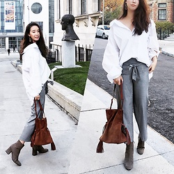 WMwatchme - All Saints Tassled Bag, Zara White Shirt, Zara High Waisted Pants, H&M Earring, Zara Ankle Boots - Off duty look