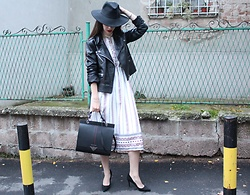 Jelena - Catarzi For Asos Wide Brim Fedora, Moon River White Dress, Mona Leather Bag, Asos Pointy Heels, Mango Leather Jacket - White dress