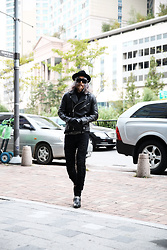 INWON LEE - Byther Woolen Chic Black Felt Fedora Hat, Byther Studded Spike Custom Sunglasses, Byther Gothic Black Faux Leather Made Motorcycle Jacket - Studded Classic Motorcycle Fashion Styling