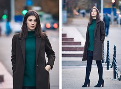 Vlada Avornic - Gamiss Dress, Amiclubwear Boots, New Look Coat - Sweater dress & Thigh high boots