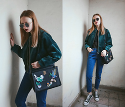 Kristina Magdalina - Rosegal Sunglasses, Poppy Lovers Bomber Jacket, Poppy Lovers Bag, Bershka Jeans, Converse Shoes - VELVET BOMBER JACKET.