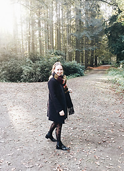 Magna G. - Zaful Black Wool Coat - Fall forest walks