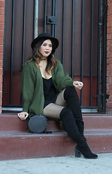 Yuka I. - Slip Dress, Cardigan, Fishnets, Otk Boots, Hat, Circle Bag - Olive and fishnets