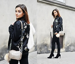 Barbara Kucharska - Rosegal Bomber Jacket, Zara Stoles, Stradivarius Choker, Fabiola Bag, New Look Fur Ball, Mango Pants, Deezee Heels - Floral Bomber & Bag Fabiola
