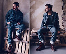 Maik - Herrenschatz Jacket, Herrenschatz Denim, Kavat Boots - All-denim with Herrenschatz
