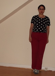 Selina - Self Made Polka Dot T Shirt, Yesstyle Red Trousers - Nowhere sells polka dot t-shirts so I had to make one