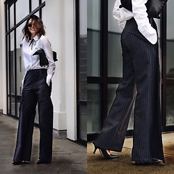 Amber - Jacquemus Wide Leg Pants, See By Chloé Button Up Shirt - Pinstripe wool