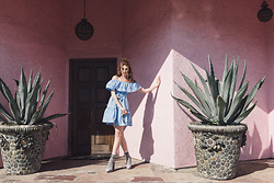 Ms. Morgan Ryan - Shein Blue Off The Shoulder Dress, J. Crew Socks, Zara Suede Platform - | THE A L C H E M I S T |
