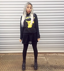 Shady Kleo - Primark Pokemon Hoodie, Bank Fashion Mesh Skirt, H&M Black Leggings, Yru Black Platform Boots - Pika Boo