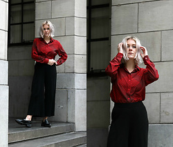 Manon Dijkhuizen - Weekday Pants, Zara Shoes, Vintage Shirt - A Pop of Red