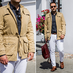 Ilya Trifonenkov - The Kravets Trenchcoat, Галантэя Backpack, Mango Jeans, Massimo Dutti Loafers, Zara Sunglasses, The Kravets Shirt, Mango Belt - SAFARI BY THE KRAVETS