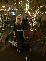 Shannon D - Free People Dress, Jimmy Choo Red Heels, Gucci Bag, Vintage Belt With Snake Buckle - Holiday Party