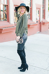 Taylor Reese - Romwe Lace Up Top, Bp Faux Leather Leggings, Steve Madden Otk Boots, Leith Felt Hat - Lace Up Top & Leather Pants